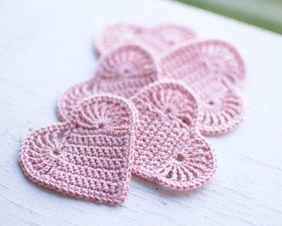 Crochet hearts #crochet #heart #rose #wedding #decoration $20