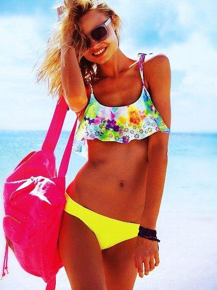 victoria Sectert clothes for teens | tie dye bikini - flounce crop top - pink - victorias secret-f69570