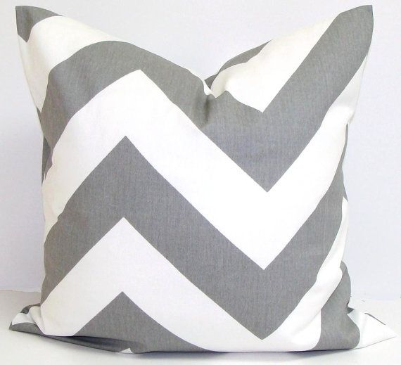 GRAY CHEVRON PILLOW.26x26 inch.Pillow Cover.Printed Fabric Front and Back.Large Grey Chevron. Cushion Cover.Cm