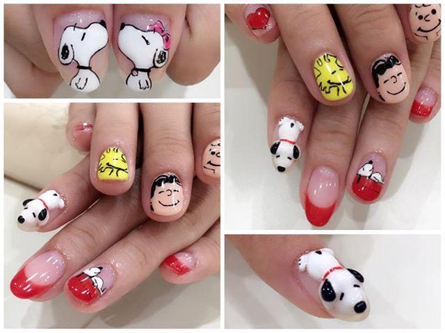 ペイント   3Dのスヌーピー 作ったよ(⑉°з°)-♡ . . #お客様ネイル こーゆう作業幸せ☺️素敵な時間 .  #gelnails #nails #3Dnail #3D #nailsalon #na