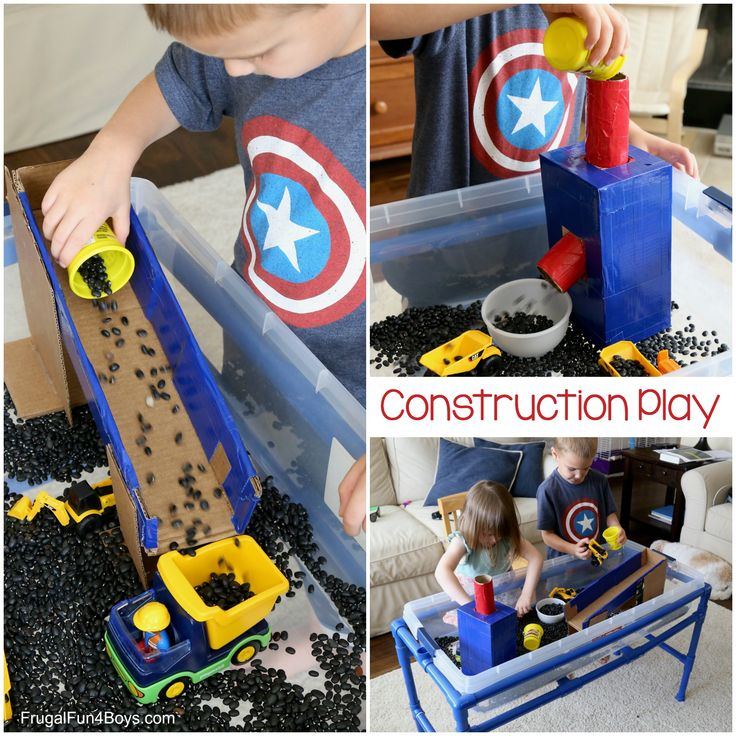 I love using sensory bins with preschoolers because it's such a motivating way to develop fine motor skills through play!  This construction truck themed sensory bin was a big hit with our preschool co-op this past week.  The kids used little trucks to lift and load up beans, and we used cardboard to create some...Read More »