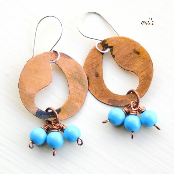 Turquoise Copper Paisley Handcrafted Eco by EVIsMetalworkJewelry, €24.00