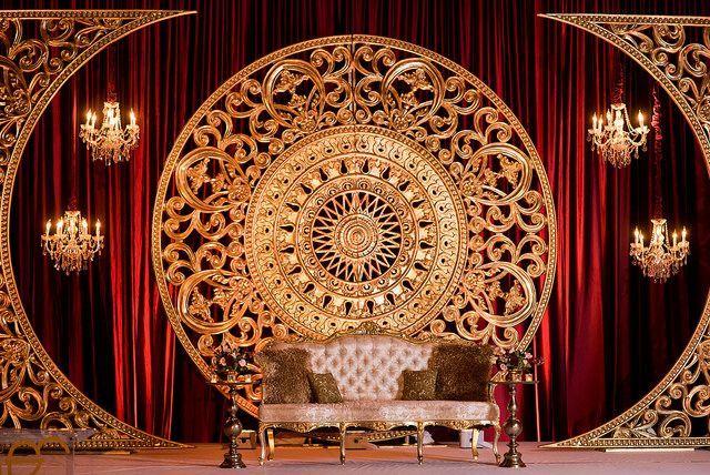 Custom Reception Design / Indian Wedding Reception Decor / Maroon and Gold Reception Decor / Stage Decor / Hilton Orlando / Occasions by Shangri-la / Banga Studios