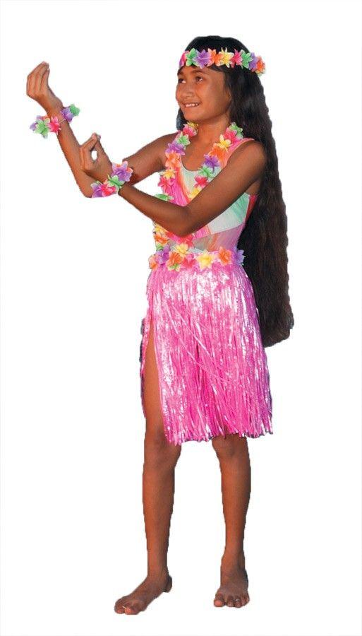 Child Teen Aloha Hawaiian Luau Theme Party Costume Set Pink