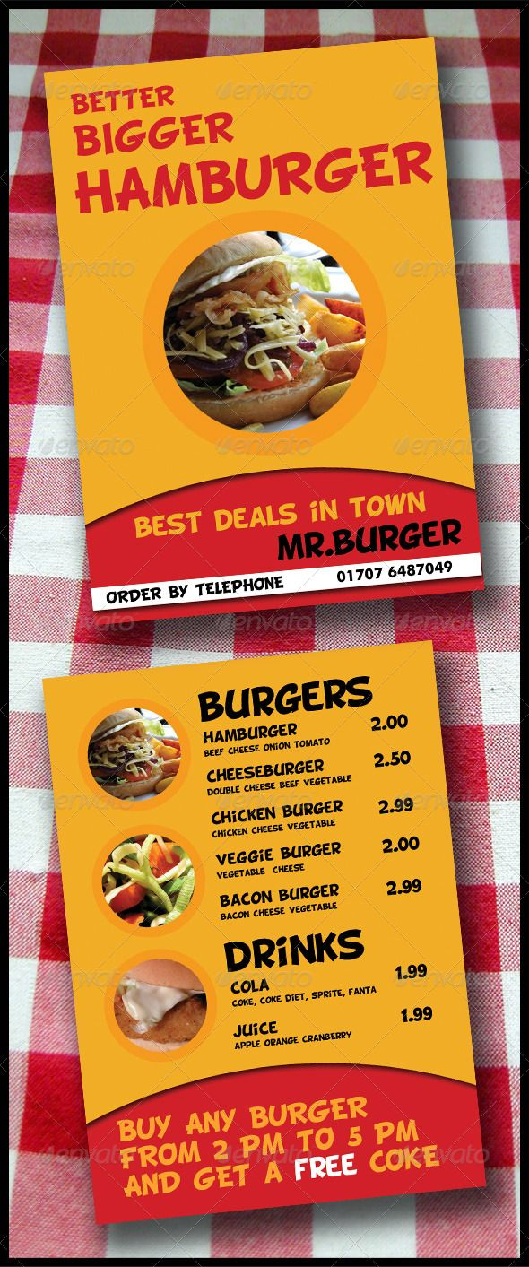 Take Away Menu Flyer 2 Pages A5 Brochure Fonts Logos Icons Restaurant Template