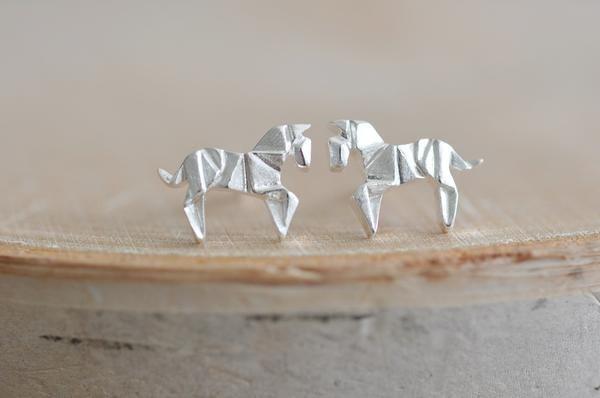 Origami Horse Stud Earrings
