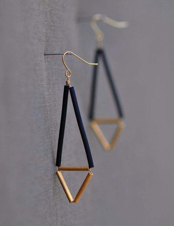 Minimalist Earrings Black and Gold Geometric by knobbly on Etsy, $24.00