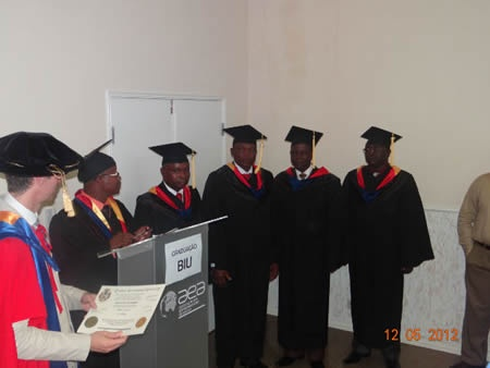 Rui Comprido Mangovo at the 2012 BIU Angola Graduation.