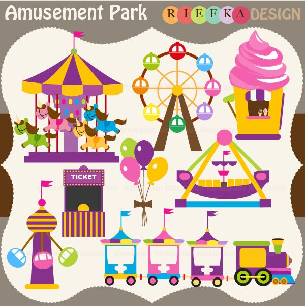 Cute and Fun 8 graphic elements of Amusement Park . Perfect for your craft project, scrapbooking, invitation, web design, paper product, design card and everything else.