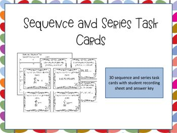Sequence and Series Task Cards are an effective way for students to practice and solidify their understanding of arithmetic and geometric sequences and series. This activity requires that students differentiate between arithmetic and geometric sequences and series and use both explicit and recursive formulas to solve problems. There are endless ways to use task cards. I use these cards as an in class review assignment to get my students ready for their test.