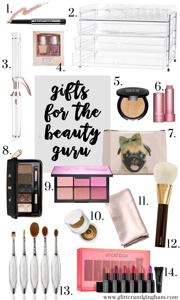 The Best Gifts for the Beauty Lover // NARS Blush Palette, Make Up Forever Hightlighter, Tom Ford Brush, Artis Brushes, Marc Jacobs Beauty, Smashbox Lipsticks