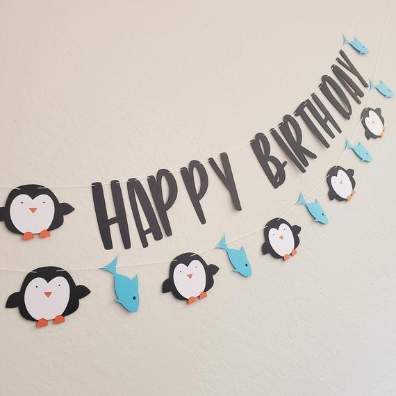 Girl Penguin Party Banner Penguin Birthday Banner Girl Winter Birthday Banner Penguin Party Decor Girl Penguin Package Snow Banner