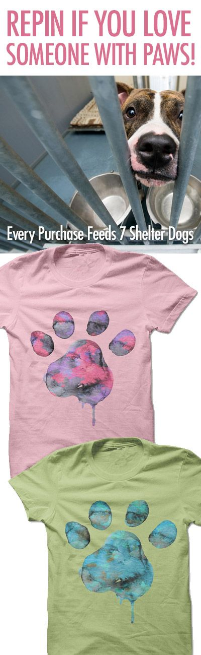I love love this design! and for such a good cause! http://iheartdogs.com/product/watercolor-paw/?utm_source=PinterestAd_WatercolorPawShelter&utm_medium=link&utm_campaign=PinterestAd_WatercolorPawShelter