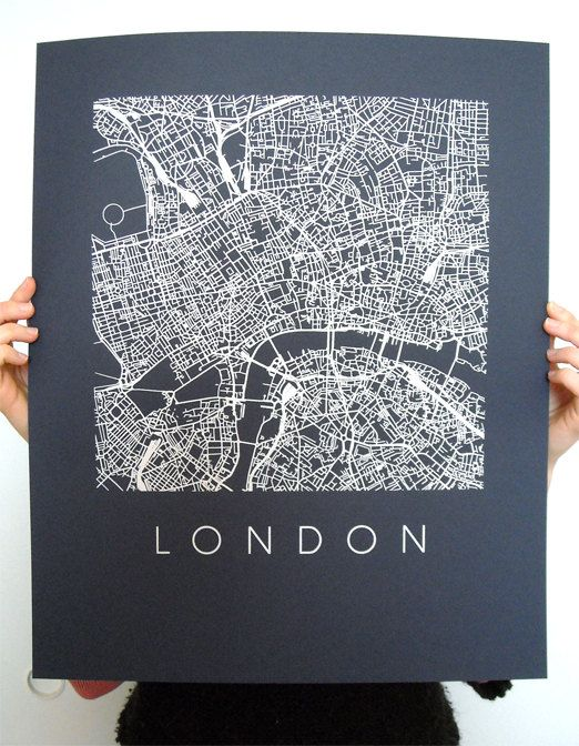 London Map Art Screen Print  16x20  Various colors by iLikeMaps, $30.00                                                                                                                                                                                 More