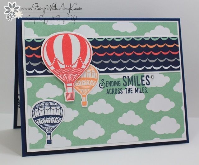 I used the Stampin' Up! Lift Me Up stamp set andUp & Away Thinlits Dies Bundle from the upcoming 2017 Occasions Catalog and a little of the Carried Away DSP that you can earn for FREE du…