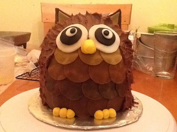 """Owl Cake I used 2- 6in round cake pans, and a """"ball"""" cake pan. (1/2). Let cool, and trim tops, put cut side down, ice between layers, and do a thin """"crumb coat"""" with desired icing. put in fridge and let the crumb coat of icing harden. You can do many different layers for the feathers, and colors too. (With fondant) eyes, beak, ears,  and feet are made with fondant as well."""