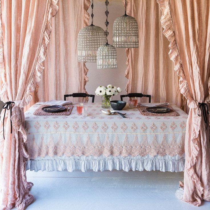 Bella Notte Linen Whisper Embellished Curtain Hestia