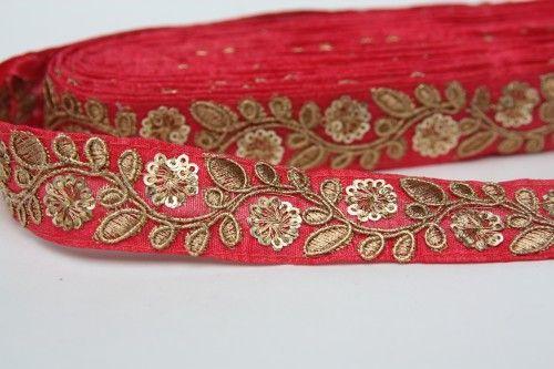 Indian Saree Trim, Sari Lace Trim, Embroidery Trim for Sari , By Yard,