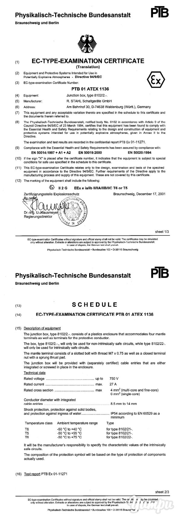 PTB 01 ATEX 1136 - R. Stahl - Magazine with 5 pages: PTB 01 ATEX 1136 - R. Stahl