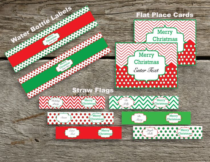 Christmas Party Package~Water Bottle Labels~Straw Flags~Place Card ~Party Printable~A712-TP1 by PaperPassionDesigns on Etsy