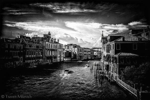 Venice Cityscape Landscape Art Photography Black by TravenMilovich