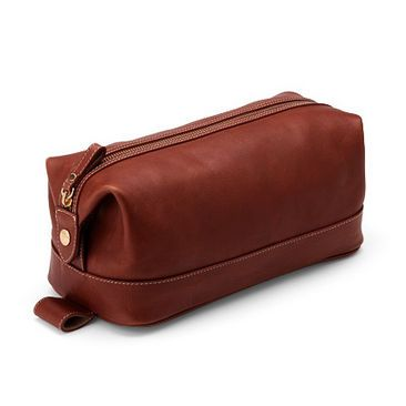 Men's Leather Wash Bag in Smooth Cognac