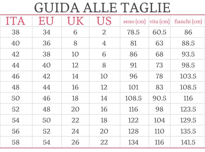 Tabella taglie - conversione internazionale e misure