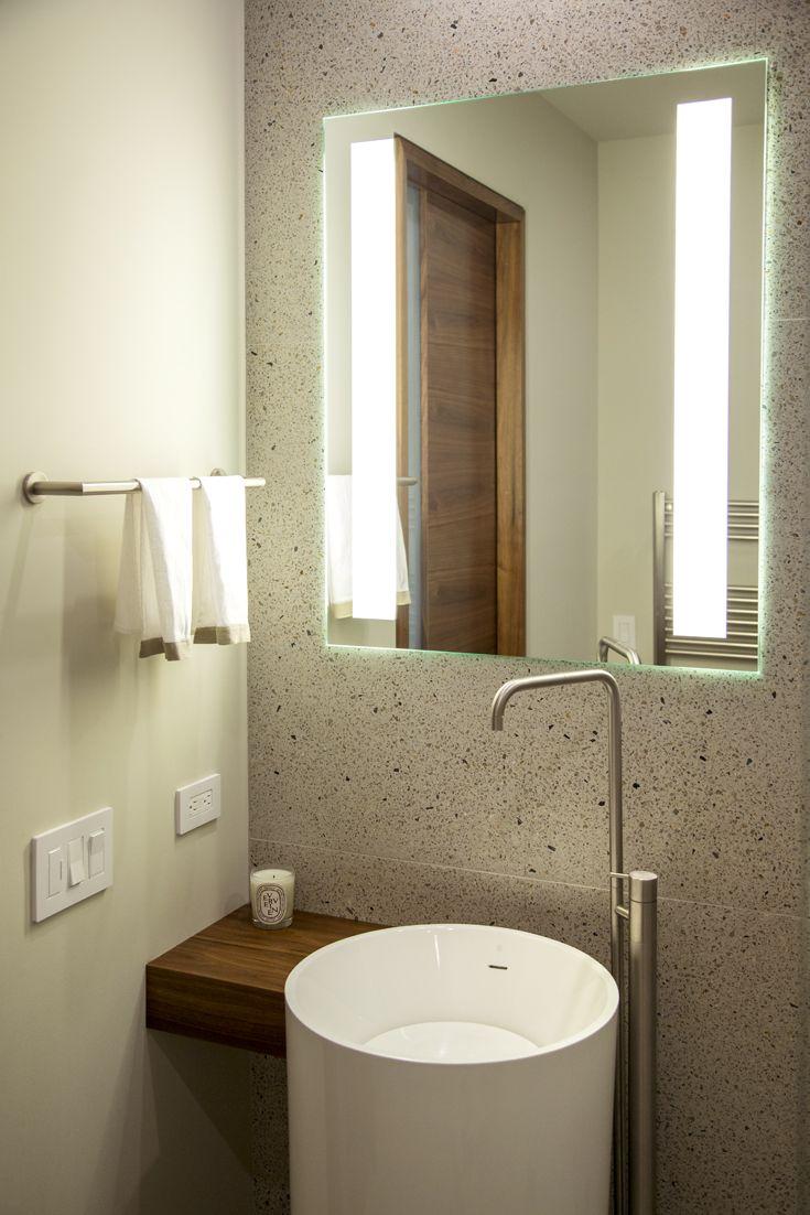 Lighted Vanity Mirror Wood : Modern Guest Bathroom: Modern, Organic Materials, Natural Materials, modern wood vanity, modern ...