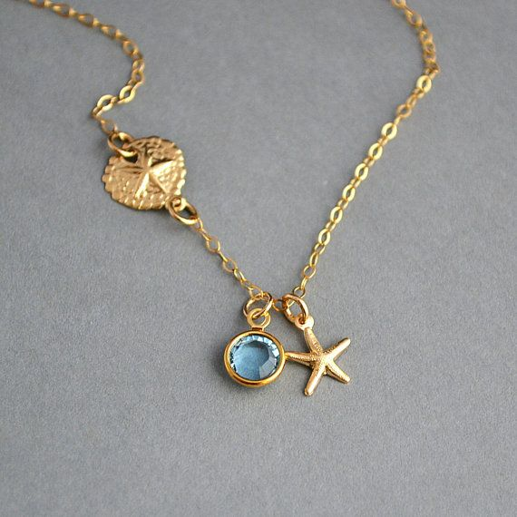 Sand Dollar Necklace, Starfish Necklace, Gold Birthstone Necklace, Sand Dollar Starfish Necklace, Beach Necklace