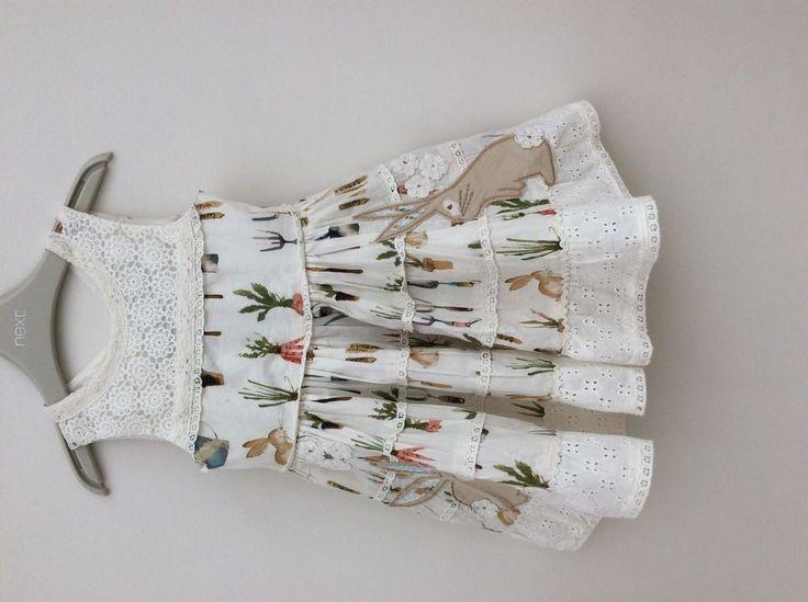 Next baby girls Garden Prom Dress Gardening range lined bunny motif age 9/12 m