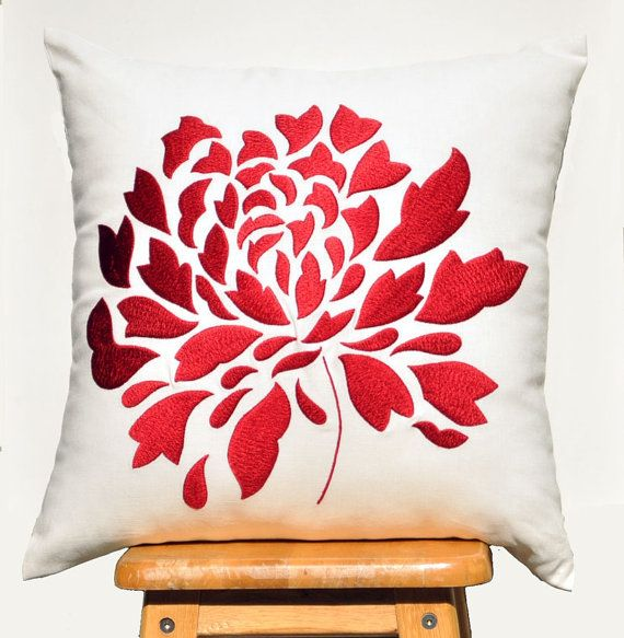 "Red Dahlia - Embroidered Decorative Pillow Cover 18"" x 18""- Off White"
