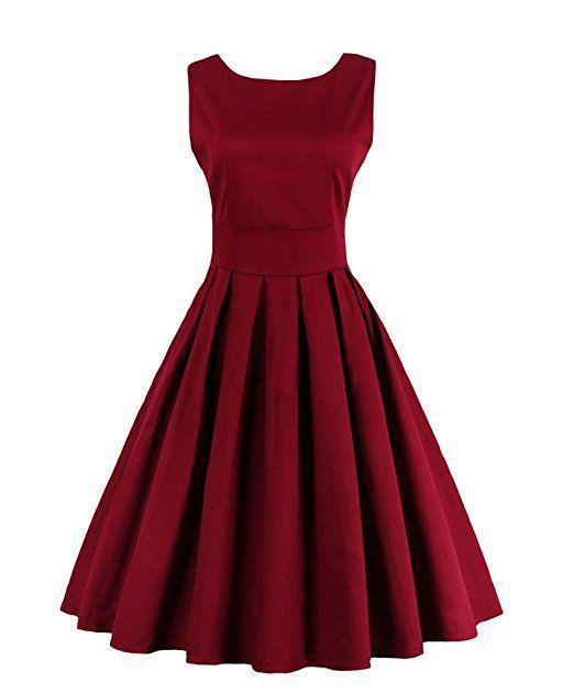 U8Vision Damen 1950er Vintage Abendkleid Elegant Rundhals Trägerkleid Retro Cocktailkleid Faltenrock Kleid Dunkelrot Gr.L