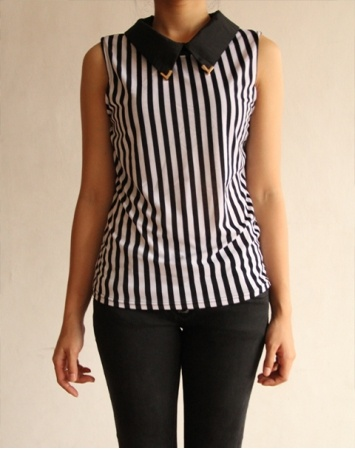 Striped Colar Top