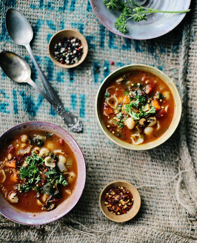 Rustic Vegetable Chickpea Soup - Vegan