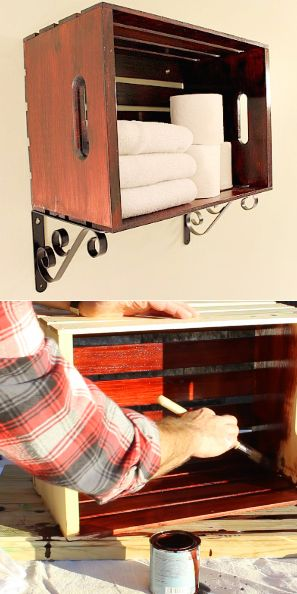 A quick and easy DIY Crate for bathroom towel storage.