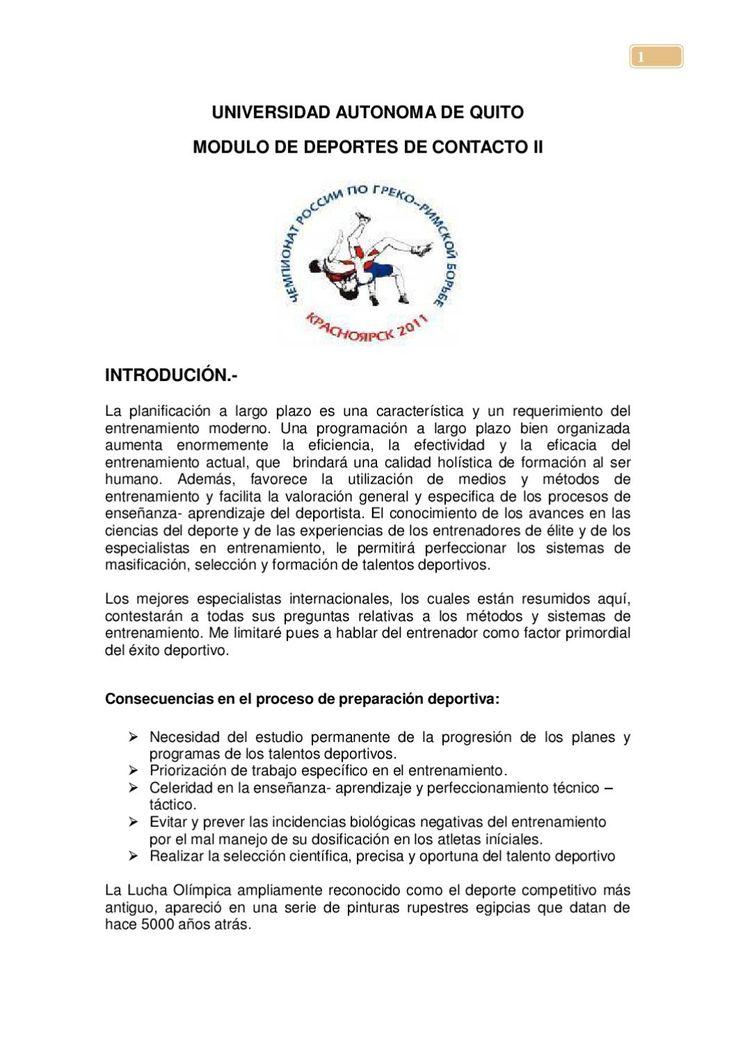 Iniciación Deportiva en Lucha Olímpica  Investigación Científica realizada desde el año 1994 al 2011.