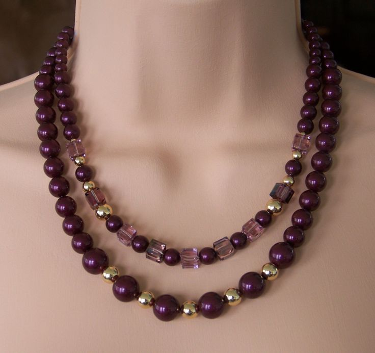 Gold Necklace with Swarovski Blackberry Pearls and Crystals by WillowLakeJewellery on Etsy