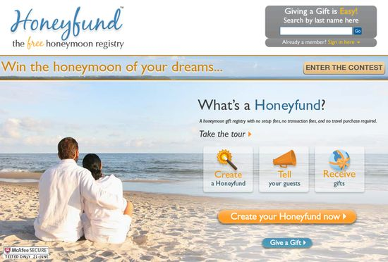 Save on the Honeymoon With This Registry: If your house is full of tupperware and you're not in need of any items, you might want to set up a honeymoon registry. My pick is Honeyfund.com because it's free and easy to use. There are lots of honeymoon registries online, but many of them charge fees.  You can list parts of your honeymoon, such as the air ticket and hotel breakfast. The honeymoon registry is a great way for your guests to chip in for an experience gift.