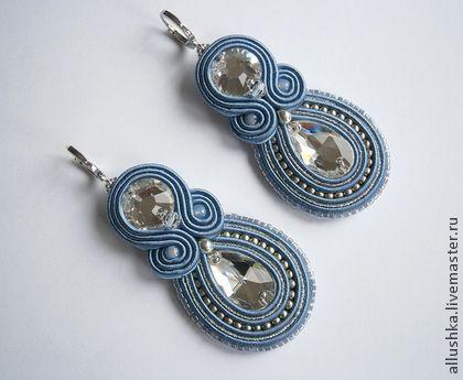 "Серьги сутажные ""Джинс"" - синий,swarovski,soutache,handmade,jewelry,beads"