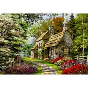 "A wonderful cottage in the country makes for a great jigsaw puzzle with this difficult 2000-piece puzzle by Educa. Artist: Dominic Davison. Finished puzzle 37.8""x26.75"". Educa puzzles are known around the world for their quality standards, using green & blue boards which create exact piece fits and greatly reduces puzzle dust. As well, every Educa puzzle between 500 and 2000 pieces includes puzzle glue for preserving your success, and a Puzzle Piece Replacement Guarantee through which they…"