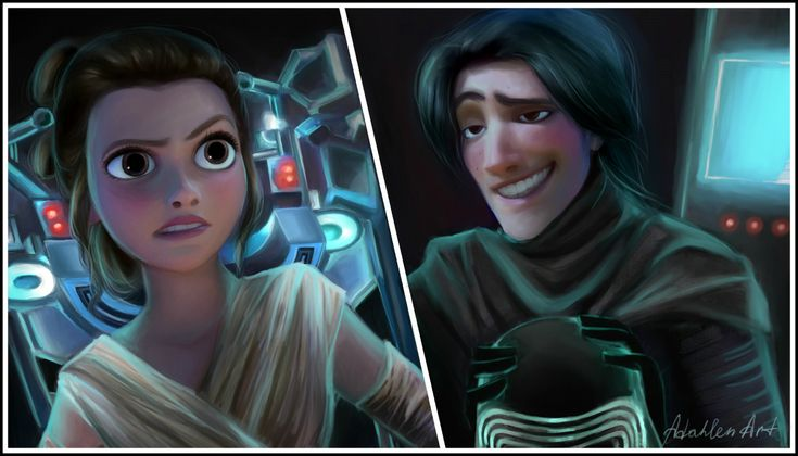 """""""So still wanna kill me?"""" - Rey and Kylo Ren of Star Wars: The Force Awakens and Tangled Crossover"""