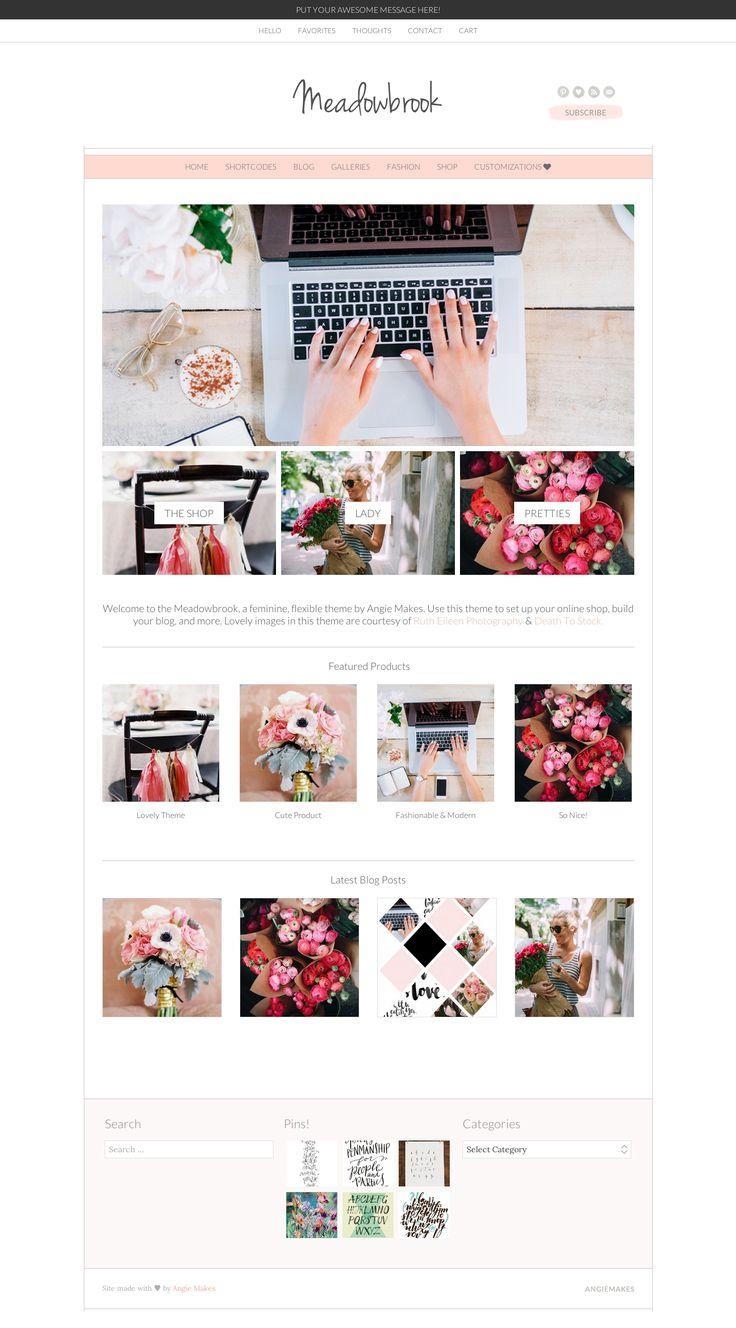 Meadowbrook feminine Wordpress Theme by Angie Makes. Modern, Feminine blog design style.