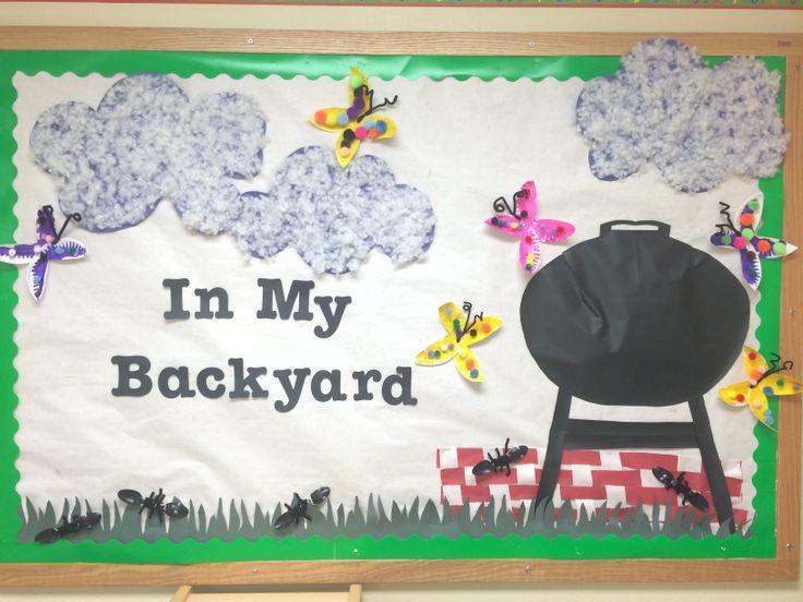 Preschool bulletin board summer backyard fun my for Bug themed bedroom ideas