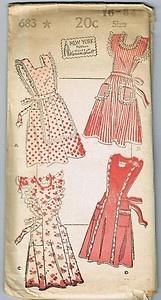 "1940's Vintage Pattern New York 683 Apron Aprons Pinafore Bib 16 34"" 1940'S | eBay"