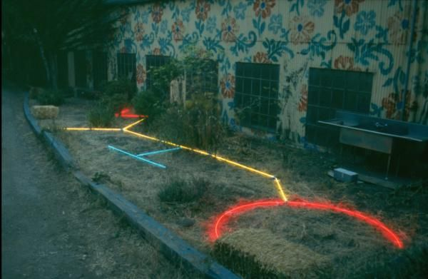 Urban Crop Circle, 1994 Temporary Neon Installation, SOMAR Gallery 15 feet by 62 feet by 14 inches  San Francisco, CA Vince Koloski