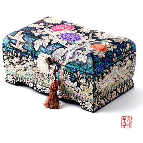 한국전통공예품의 감동 두레아트 국화 타발 보석함