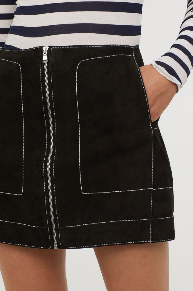 Jupe Courte En Suede Noir H M Fr Skirts Denim Pencil Skirt Short Skirts