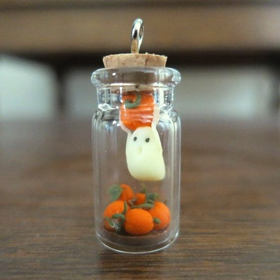 Tiny Halloween Ghost within the Bottle, Diorama, Pumpkin Patch, Ghost Present, Glow within the Darkish
