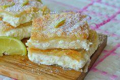 Quadrotti di cheesecake al limone in sfoglia