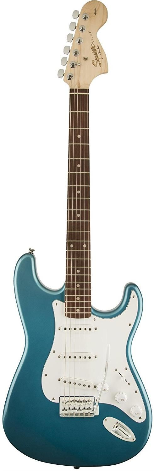 Squier Affinity Series Stratocaster - SSS - Lake Placid Blue. This budget electric guitar has three single-coil pickups with five-way switching, smooth-playing rosewood fingerboard with 21 medium jumbo frets, synchronous tremolo bridge and large '60s-style headstock. For a detailed guide to cheap electric guitars see https://www.gearank.com/guides/cheap-electric-guitars